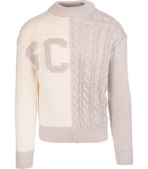 gcds man bicolor sweater with inlaid logo and braid processing