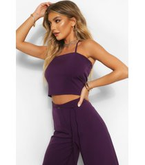 tailored strappy halterneck top, purple
