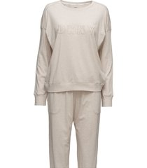 dkny new signature l/s top & jogger pj pyjamas beige dkny homewear