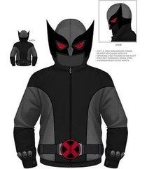 authentic marvel comics wolverine gray wolf x-men costume hoodie s m l xl 2xl