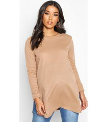 maternity side split rib sweater, camel