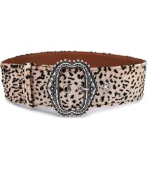 etro leopard-print large belt - brown