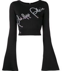 philipp plein crystal-embellished cropped sweater - black