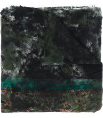 avant toi floral embroidered scarf - green