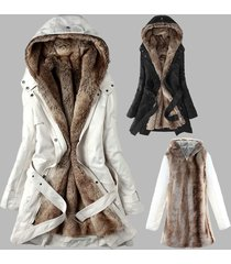 fashion women's winter faux fur lining fur coats warm long cotton padded jacket