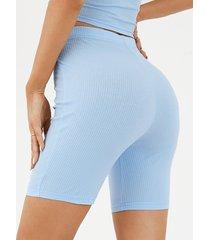 shorts casuales de cintura alta de punto acanalado de yoins basics