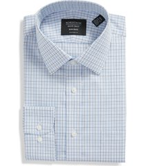 men's big & tall nordstrom traditional fit non-iron plaid dress shirt, size 16.5 - 36/37 - blue