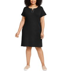 karen scott plus size laced-neck dress, created for macy's