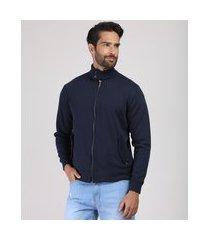 jaqueta masculina em moletom com bolsos gola alta azul marinho
