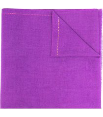 paul smith logo -embroidered knit scarf - purple