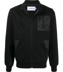 calvin klein jeans contrast panel zipped sweater - black