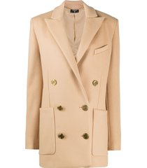 balmain short double-breasted coat - brown