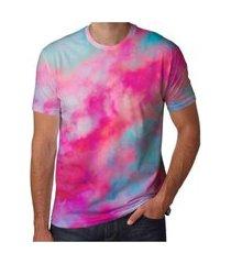 camiseta estampada touro neway masculina tie dye rosa e azul