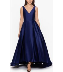 betsy & adam satin high-low ball gown