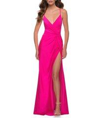 women's la femme strappy back jersey gown, size 10 - pink