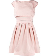 paule ka layered style flared dress - pink