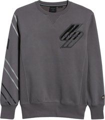 men's superdry sportstyle energy boucle men's crewneck sweatshirt, size x-large - grey