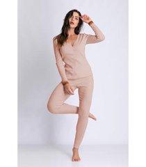 conjunto de pijama acuo longo ribana de algodão feminino