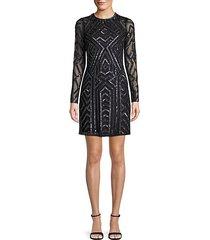embellished long-sleeve sheath dress