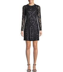 embellished long-sleeve sheath dress