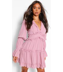 ruffle trim drape sleeve skater dress, mauve