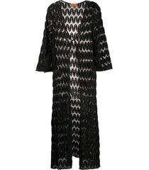 missoni mare longline open knit cardigan - black