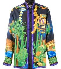 multicolored silk shirt