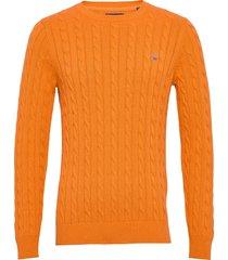 cotton cable crew gebreide trui met ronde kraag oranje gant