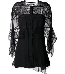 alberta ferretti sheer panel shawl top - black