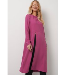 kristin rödin x na-kd high slit midi dress - pink