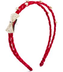 monnalisa bow-detail braided headband - red