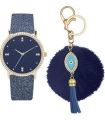jessica carlyle women's analog blue denim strap watch 36mm with evil eye charm key chain cubic zirconia gift set