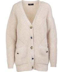 blumarine beige wool cardigan with jewel buttons