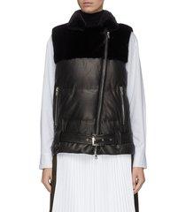 paneled leather mink fur down biker vest