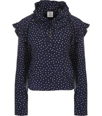 polka dot biker blouse