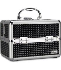 maleta de maquiagem cisne alumínio reforçada 4 bandejas preta - kanui