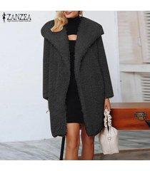 zanzea mujeres spring open front tunic cardigan jumper jerséis de punto fleece coat -negro