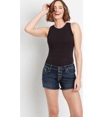 vigoss® womens high rise dark fray 3.5in shorts blue - maurices