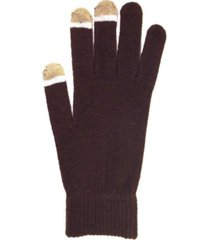micro velvet brown touch screen gloves with glow tips