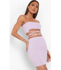 bandeau top met ceintuur en rok, lilac
