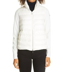 moncler quilted down & wool short cardigan, size x-large in white at nordstrom