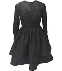 fanmu long sleeves lace satin homecoming dresses short prom gowns black us 16