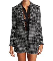 l'agence women's diana skinny lapel plaid blazer - black ivory - size 2