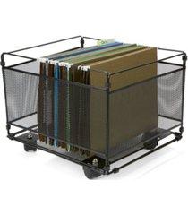 mind reader portable rolling metal mesh box file, document, folder sorter organizer