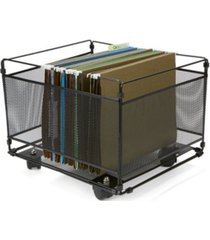 mind reader portable rolling metal mesh box file, document, folder sorter organizer
