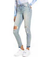 women's blanknyc the bond ripped high waist skinny jeans, size 30 - blue