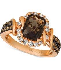 le vian chocolate quartz (1-3/4 ct. t.w.) & diamond (5/8 ct. t.w.) statement ring in 14k rose gold