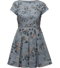 kioa cotton cppdslv flrd dress knälång klänning blå french connection