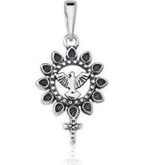 pingente estelle semijoias religioso divino espírito santo prata envelhecida feminino - feminino