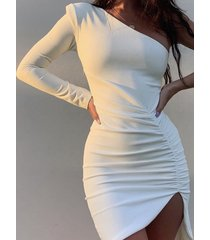 blanco split diseño one hombro ruch vestido